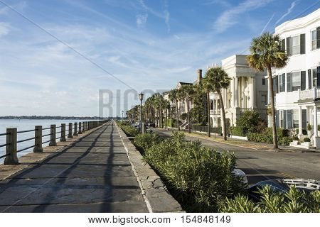 Historic waterfront and houses in old Charleston, South Carolina