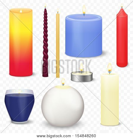 Set of different realistic 3d christmas candles isolated on the transperant alpha background. Fire light flame candle