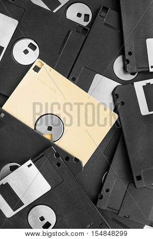Group of blank floppy disks closeup as a background