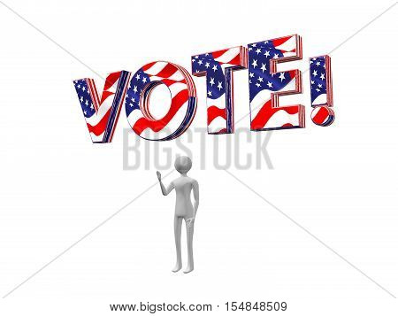 Vote! text 3d illustration in stars and stripes, being held above somebody's head,as a concept of metaphor for people's activism, power and choice, isolated on white background