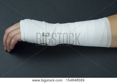 Hand Tied Elastic Bandage On A Black Background