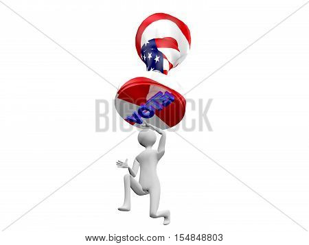 Vote stamp hanging menacingly over 3D man. Concept or metaphor for the burden of voting and choosing.3D Illustration or rendering isolated on white background