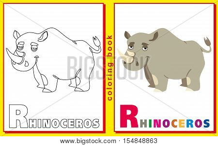 Rhinoceros. Coloring book with letters for children. vector image