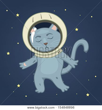 Sad cat in a spacesuit on the space background. square sticker vector