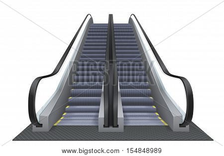 Double realistic vector escalator isolated on the white background. Up moving elevator