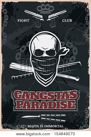 Mafia and gangster fight club poster with drawn skull in bandana and weapons on dark background vector illustration