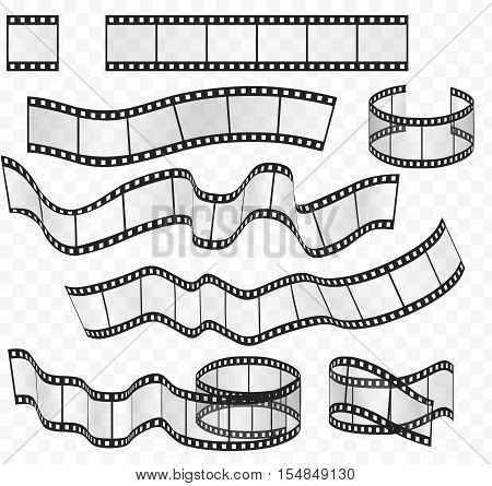 Vector media film strips roll set. Negative and strip film 35mm