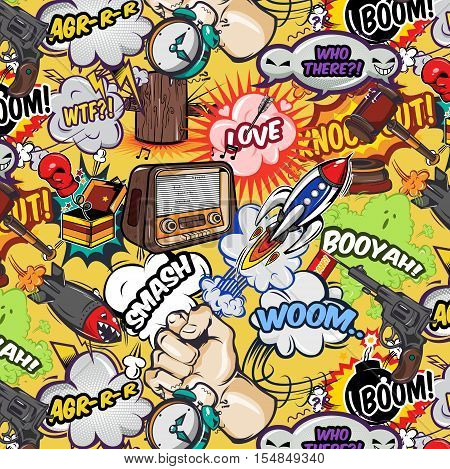 Comics elements seamless pattern with speech bubbles radio weapon rocket and gavel on yellow background vector illustration