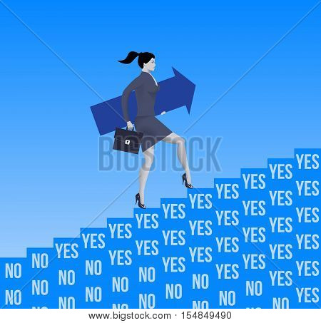 Career ladder opportunities business concept. Confident business woman in suit and with case and big arrow raising up the ladder created from YES and NO blocks with only YES blocks presented near top.