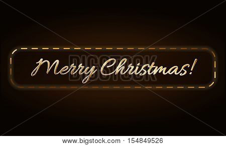 Merry Christmas gold text in frame. Holiday background. Golden type decorative design for card banner greeting vintage decoration. Symbol Happy New Year celebration holiday. Vector illustration
