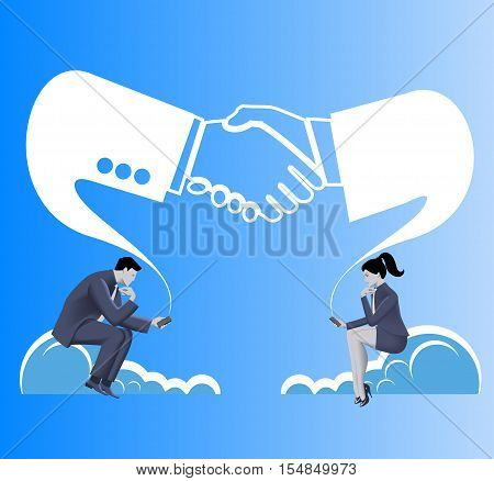 Deals are made in cloud business concept. Businessmen and business woman in suits seat on clouds and establishing connection via their smart phones. Business in cloud partnership contactopportunity