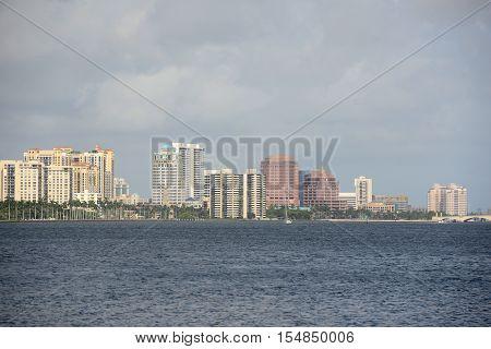 West Palm Beach Skyline by the sea, Palm Beach, Florida, USA.