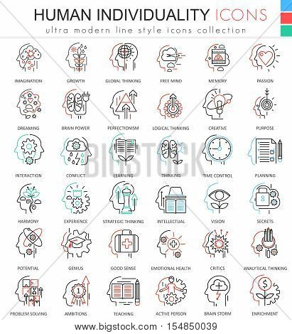 Vector Human personality and mentality ultra modern color outline line icons for apps and web design