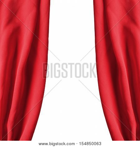 Red silk drapes isolated over white as a background