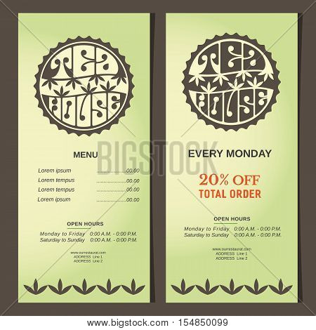 Drinks concept. Set of vertical banner templates. Green tea house logo. Round shape. Hand lettering vintage style. Stylized tea leaves. Design of organic beverages shop background. Vector illustration