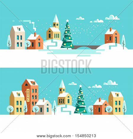 Winter urban landscape. Christmas winter city street with small houses and trees. Flat style vector illustration.