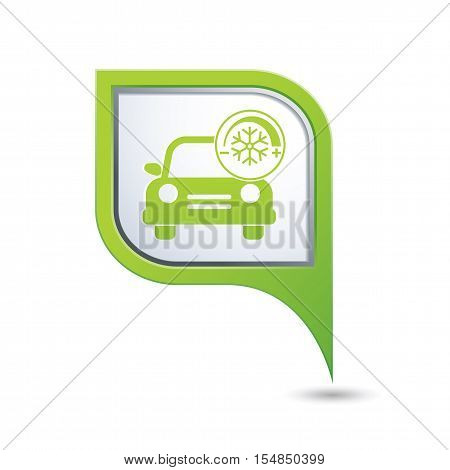 Car service. Car with air conditioner icon on green map pointer