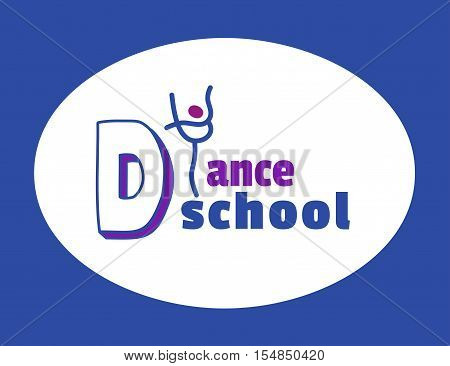 Dance icon concept. Ballet school studio logo design template. Fitness dance class banner background with symbol of abstract character ballerina in dancing pose. Vector illustration.