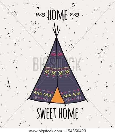 Vector Illustration Of American Indian Tipi Home With Tribal Ornament. Colorful Tepee Wigwam In Boho