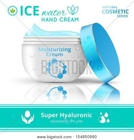 Drop cream cosmetics conceptual composition with moisturizing gel in twist off packaging and editable ad captions vector illustration