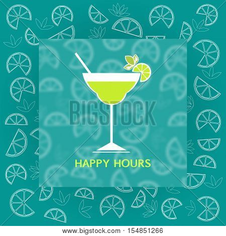 Drinks concept. Alcohol cocktail flat design icon. Glass wit liquor, lemon slice, mint and straw. Template for announce of Happy hours in bar, restaurant. Idea for advertising. Vector illustration.