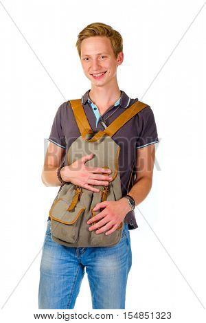 Young boy holding a backpack in the front, away from thieves