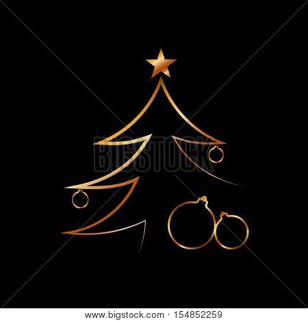 Merry Christmas celebration background gold Xmas tree. Decorative golden gift box balls star. Simple sketch card greeting. Shine light Happy New Year holiday decoration. Vector illustration