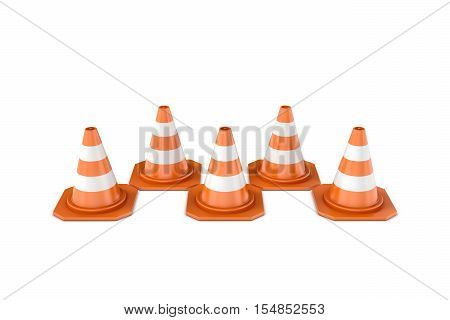 3d rendering of orange-white striped traffic cones isolated on a white background. Pylons, road cones, highway cones, safety cones, witch's hat, or construction cones. Road warning sign.
