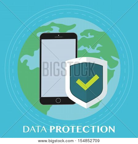 Worldwide data protection on the phone. Mobile phone with flat shield with a confirmed status of protection. Vector illustration against the background of the earth.