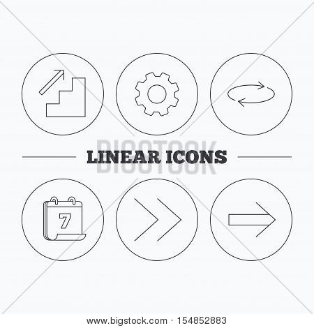 Arrows icons. Upstairs, next and repeat linear signs. Next arrow flat line icons. Flat cogwheel and calendar symbols. Linear icons in circle buttons. Vector