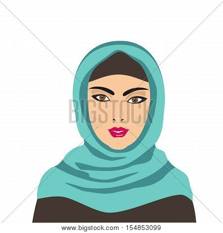 East people. Portrait of Muslim young beautiful woman dressed in blue hijab. Cartoon style. Traditional Islamic dress. Face isolated on white. Vector illustration