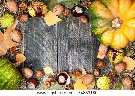 Thanksgiving day background. Autumn leaves pumpkins chestnuts acorns and nuts on a wooden table. Autumn or halloween background with copy space