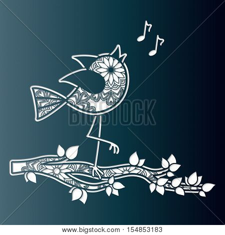 Sweet bird chirping on a tree branch. Openwork greeting card. Vector template for laser cutting.