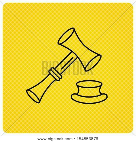 Auction hammer icon. Justice and law sign. Linear icon on orange background. Vector