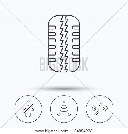 Tire tread, traffic cone and oil change icons. Fasten seat belt linear sign. Linear icons in circle buttons. Flat web symbols. Vector