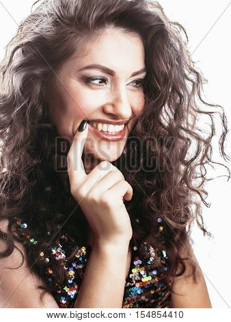 young brunette woman with curly hairstyle in fancy glamur dress isolated on white background gesturing emotional, lifestyle people concept close up
