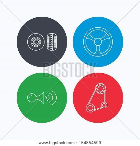 Klaxon signal, tire tread and steering wheel icons. Generator belt linear sign. Linear icons on colored buttons. Flat web symbols. Vector