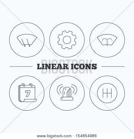 Manual gearbox, siren alarm and washing window icons. Windscreen wiper linear sign. Flat cogwheel and calendar symbols. Linear icons in circle buttons. Vector