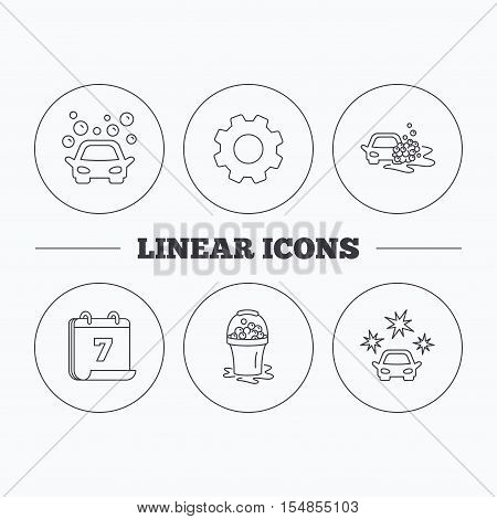 Car wash icons. Automatic cleaning station linear signs. Wet cleaning and foam bucket flat line icons. Flat cogwheel and calendar symbols. Linear icons in circle buttons. Vector