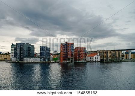 Stavanger, Norway -September 18, 2011: Cityscape. Downtown and embankment of Stavanger city from ferry
