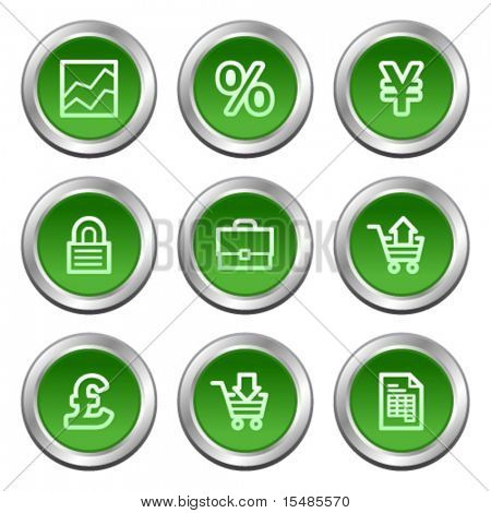 E-business web icons, green circle buttons series