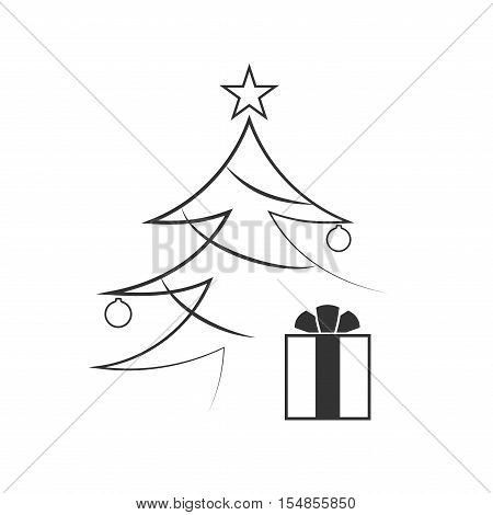 Christmas tree with balls star gift. Cartoon icon. Black silhouette decoration sign isolated on white background. Flat design. Symbol holiday Christmas New Year celebration Vector illustration