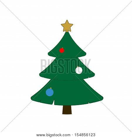 Christmas tree with balls star. Cartoon icon. Green silhouette decoration sign isolated on white background. Flat design. Symbol of holiday Christmas New Year celebration. Vector illustration