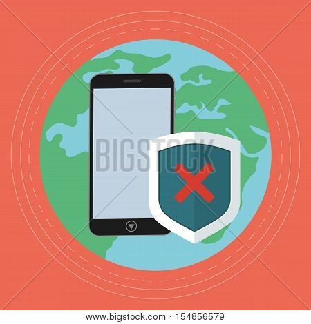 Bad Worldwide data protection on the phone. Negative status on flat security shield. Vector illustration against the background of the earth.