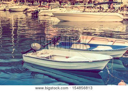 Adriatic Sea Marina Motorboats. Croatia Europe. Warm tint.