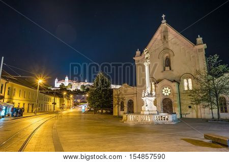 Street in historical center of Bratislava in Slovak republic. Architectural theme. Cultural heritage. Travel destination. Beautiful place. Seat of power.