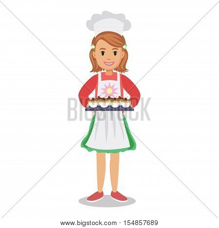 Girl holding cakes muffins cupcakes. Baker girl girl-chef. Cute cartoon girl with cakes. Vector illustration
