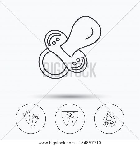 Pacifier, diapers and footprint icons. Dirty bib linear sign. Linear icons in circle buttons. Flat web symbols. Vector