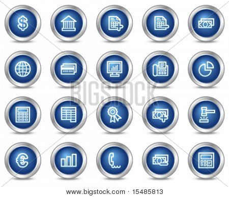 Banking web icons, blue circle buttons series