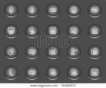 Banking web icons, metal circle buttons series